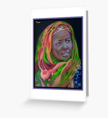 African Lady With Colorful Bandanna Greeting Card
