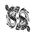 Pisces Zodiac Sign and Symbol by Leatherwood   Design