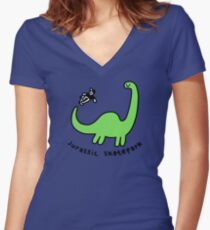 Jurassic Skatepark Fitted V-Neck T-Shirt