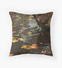 Playing with autumn leaves or...? - Spelen met herfst bladeren of... ?  Throw Pillow