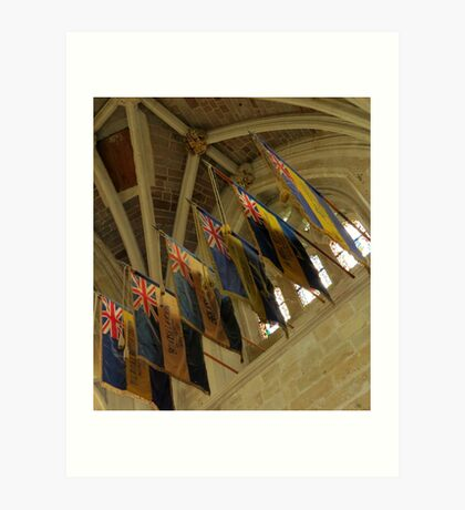 British Legion Flags, Exeter Cathedral, Devon Kunstdruck