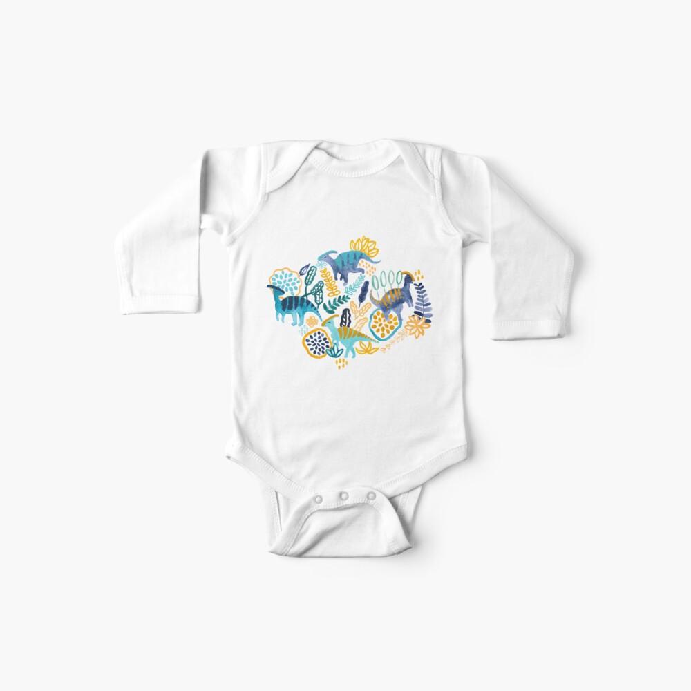Gouache Parasaurolophuses  Baby One-Piece