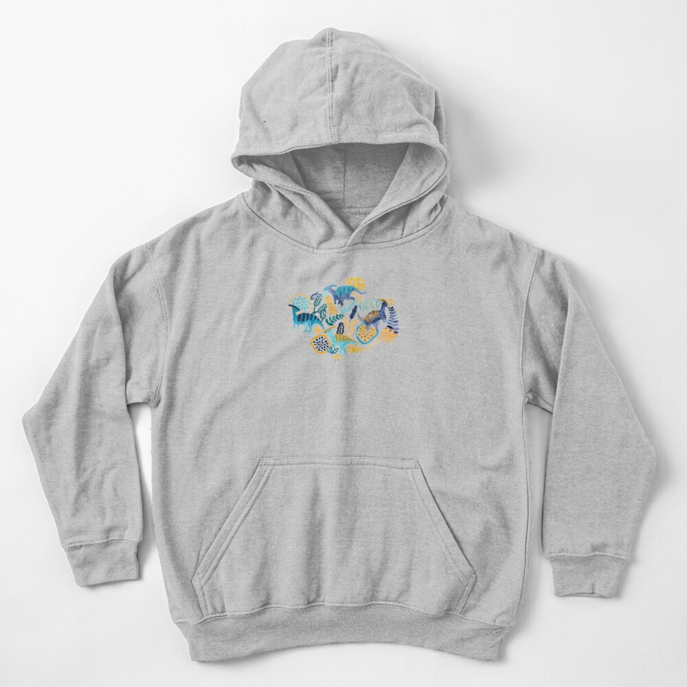 Gouache Parasaurolophuses  Kids Pullover Hoodie