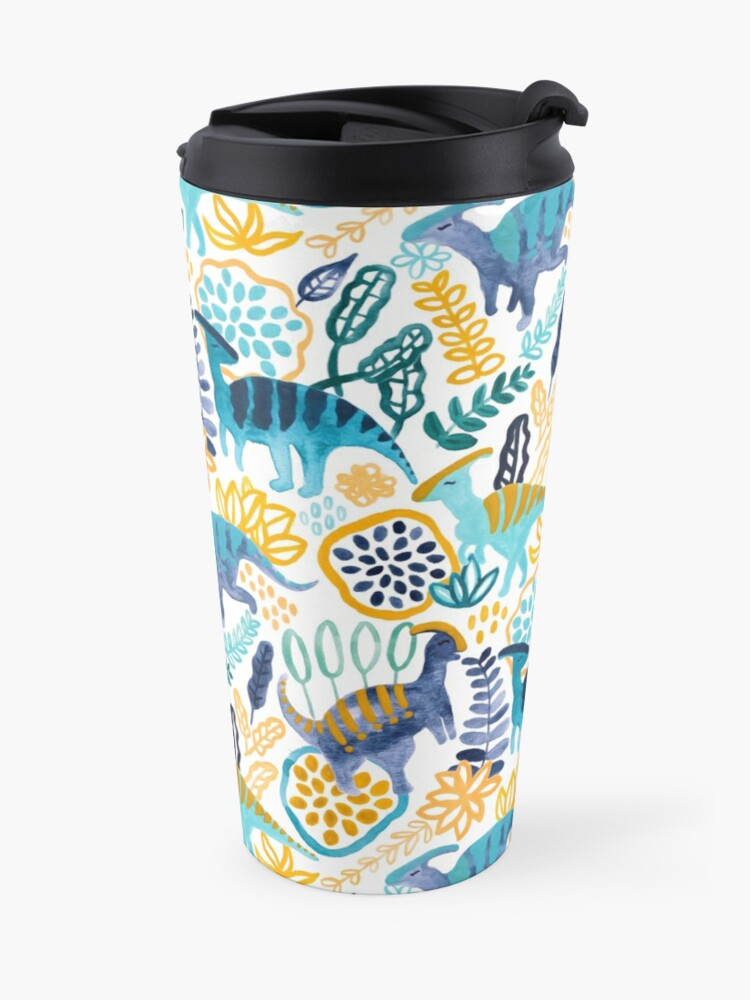 Alternate view of Gouache Parasaurolophuses  Travel Mug