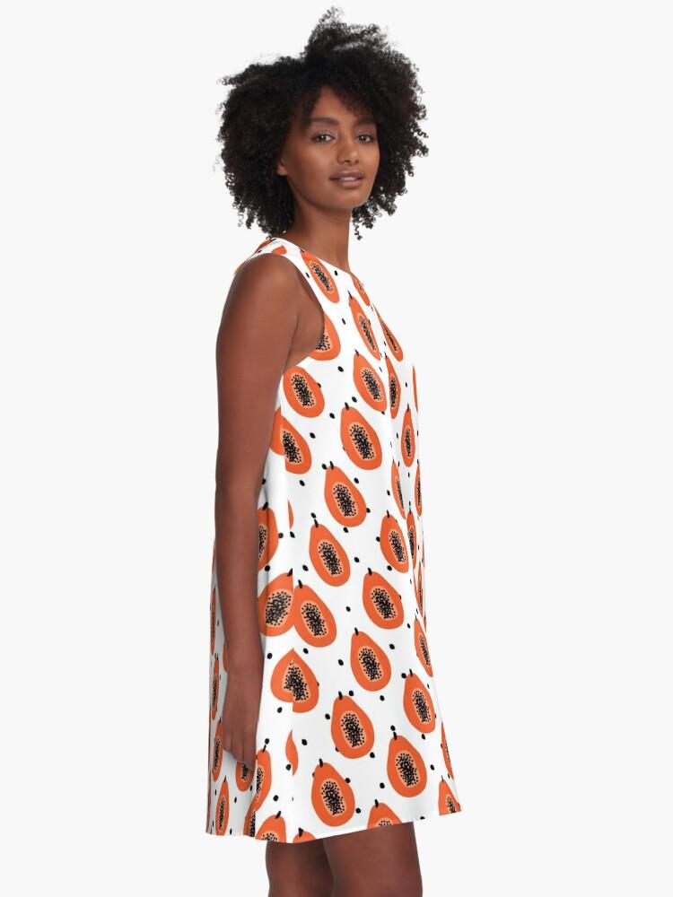 Alternative Ansicht von Super Papaya-Muster A-Linien Kleid