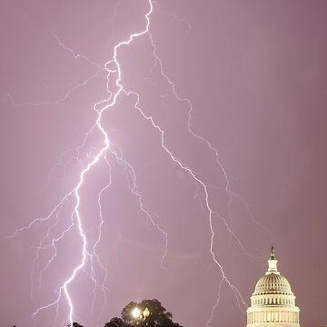 US Capitol Building - Lightning by joeshymanski