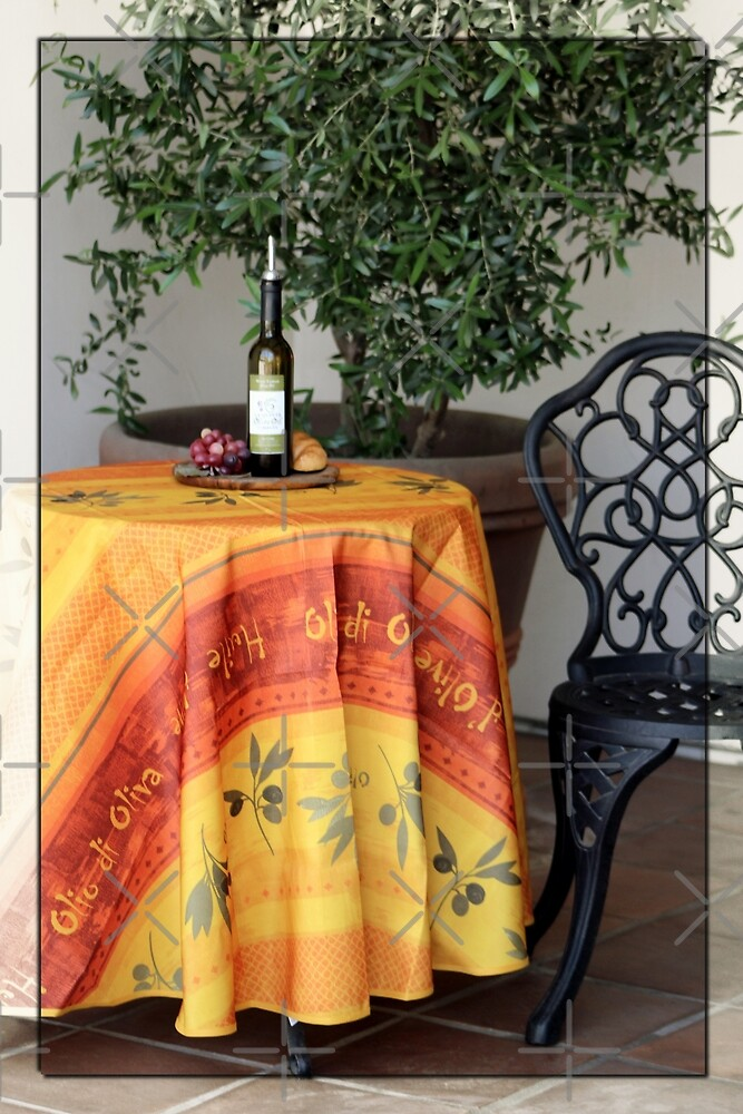 Table in front of Cafe in La Quinta California by Colleen Cornelius