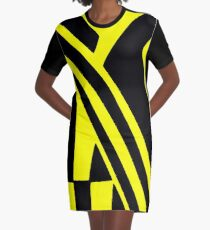 BLACK and YELLOW DAZZLE Graphic T-Shirt Dress
