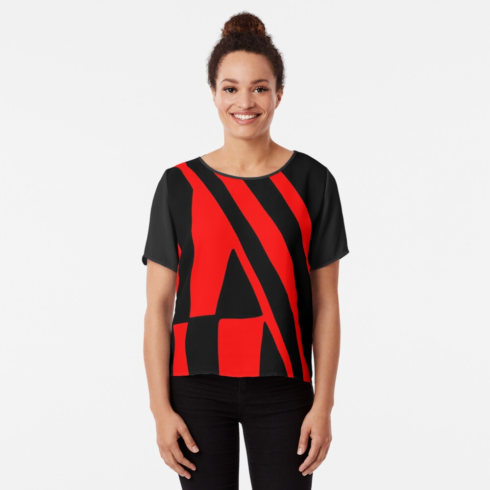 BLACK and RED DAZZLE Chiffon Top