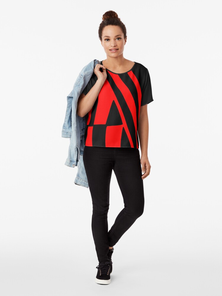 Alternate view of BLACK and RED DAZZLE Chiffon Top
