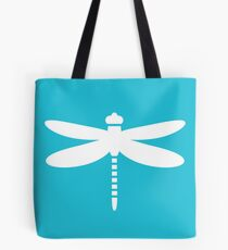 Dragonfly (white on blue) Tote Bag
