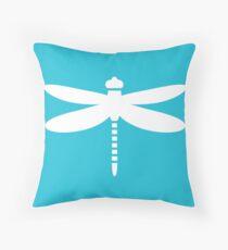 Dragonfly (white on blue) Throw Pillow