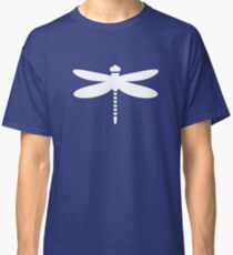 Dragonfly (white on blue) Classic T-Shirt