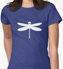 Dragonfly (white on blue) Fitted T-Shirt