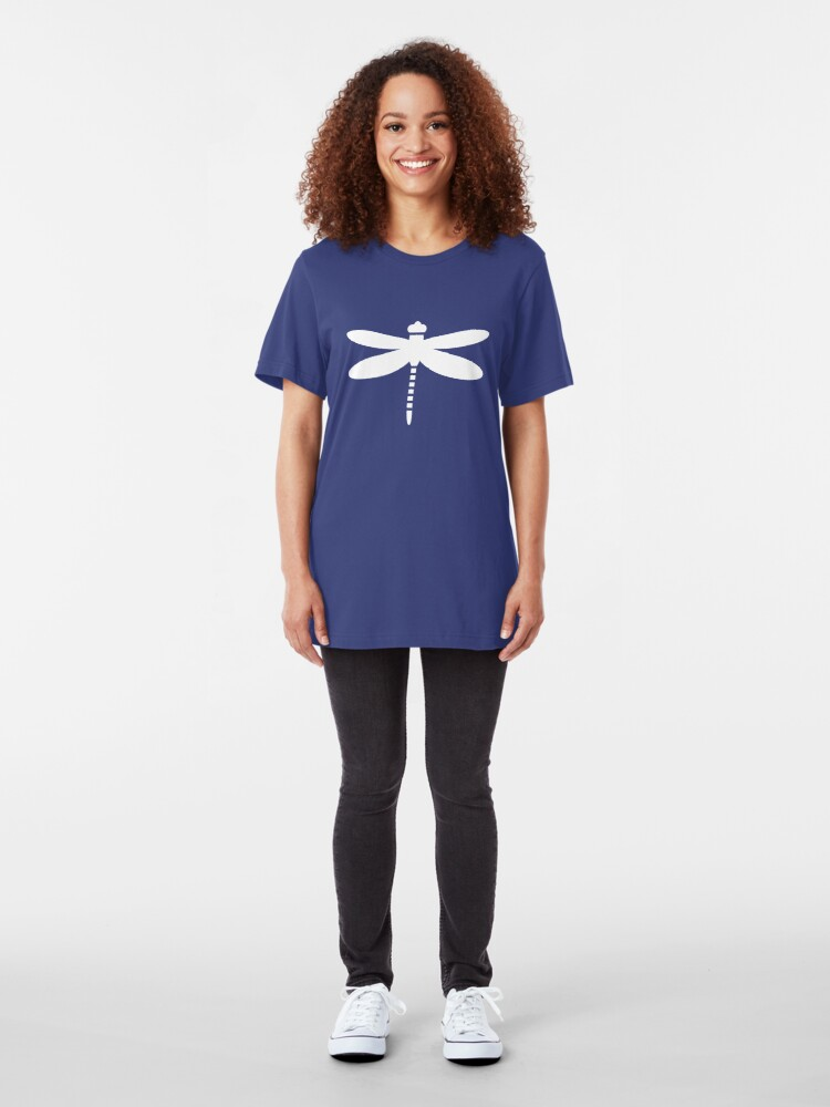 Alternate view of Dragonfly (white on blue) Slim Fit T-Shirt