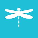 Dragonfly (white on blue) by VrijFormaat