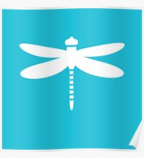Dragonfly (white on blue) Poster