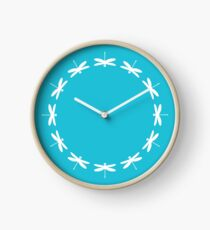 Dragonfly (white on blue) Clock