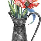 Red tulips in metal jug by stasia-ch