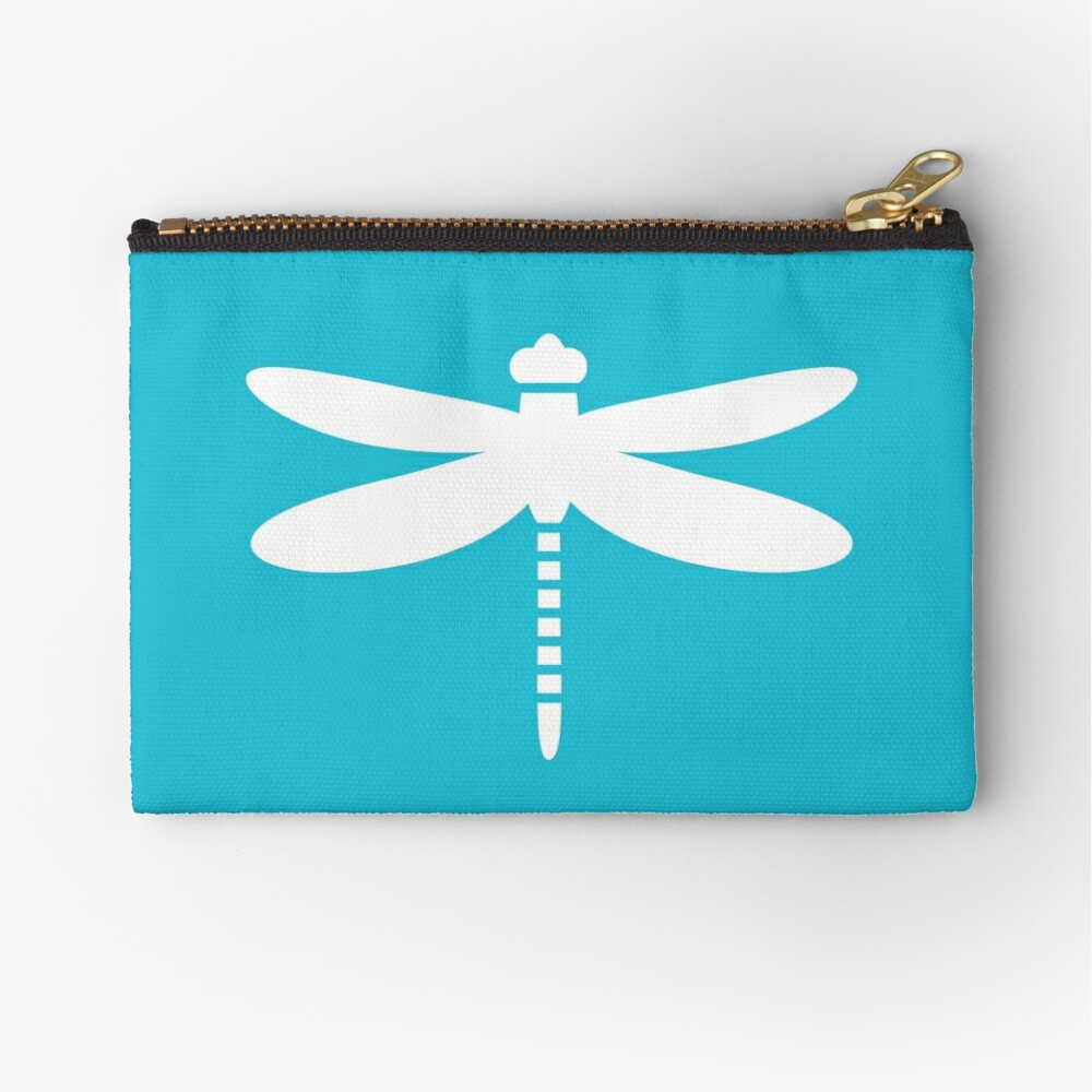 Dragonfly (white on blue) Zipper Pouch