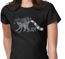 Crazy Lemur lady  Womens Fitted T-Shirt