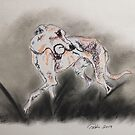 Whippet with ball Scribble Pets by Pasha by goddamnmedia
