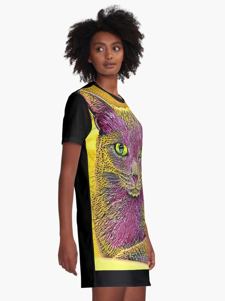 Alternative Ansicht von CAT ART PINKGELB T-Shirt Kleid