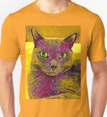 CAT ART PINKGELB Slim Fit T-Shirt