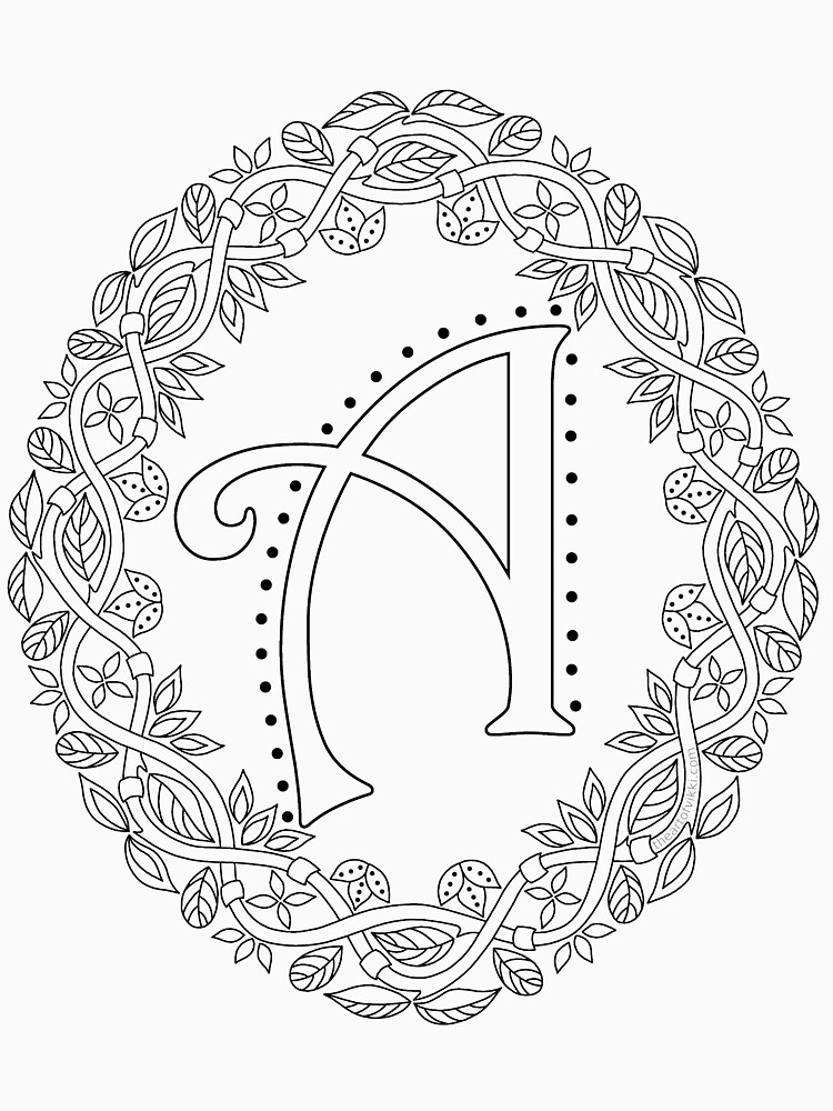 Letter A Black And White Wreath Monogram Initial by theartofvikki