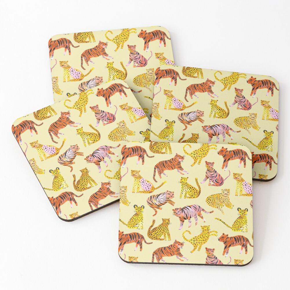 Tigers and Leopards Africa Savannah Coasters (Set of 4)