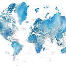 Blaue Aquarellweltkarte mit US-Landeshauptstädten von blursbyai