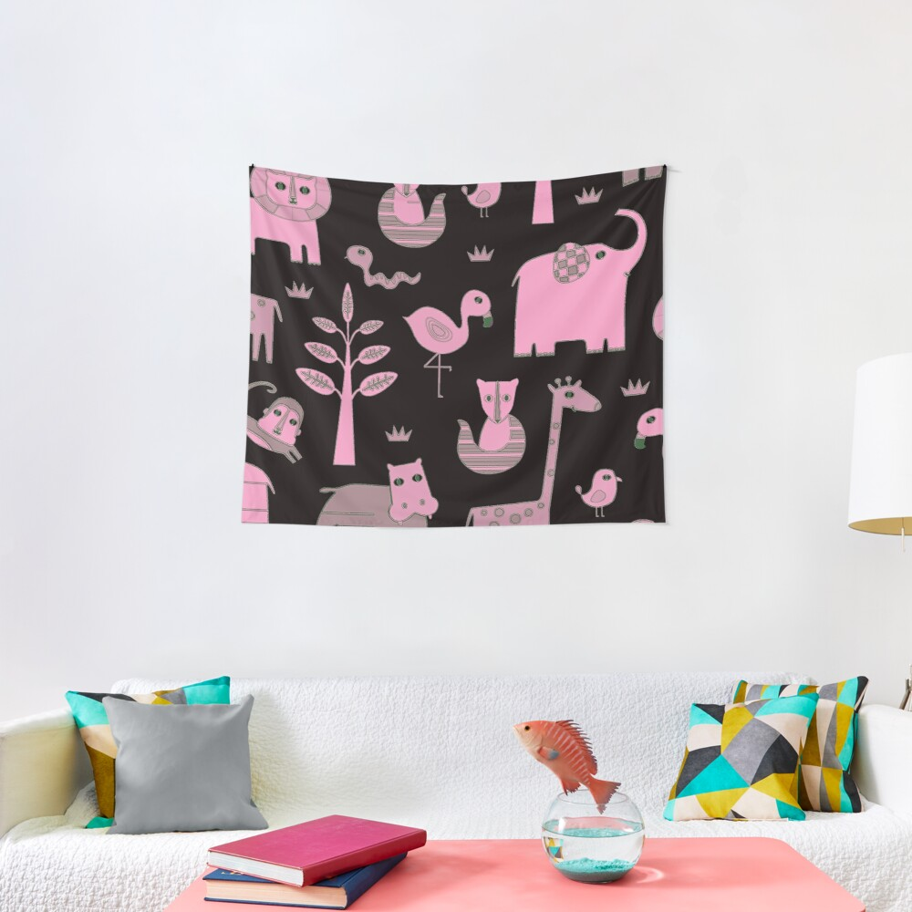 Kawaii Glam Farm Girly Animal Zoo Nursery Kids Print Tapestry