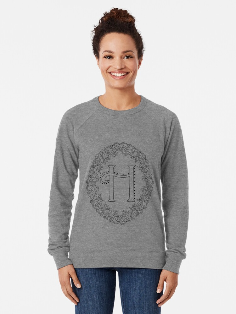 Alternate view of Letter H Black And White Wreath Monogram Initial Lightweight Sweatshirt