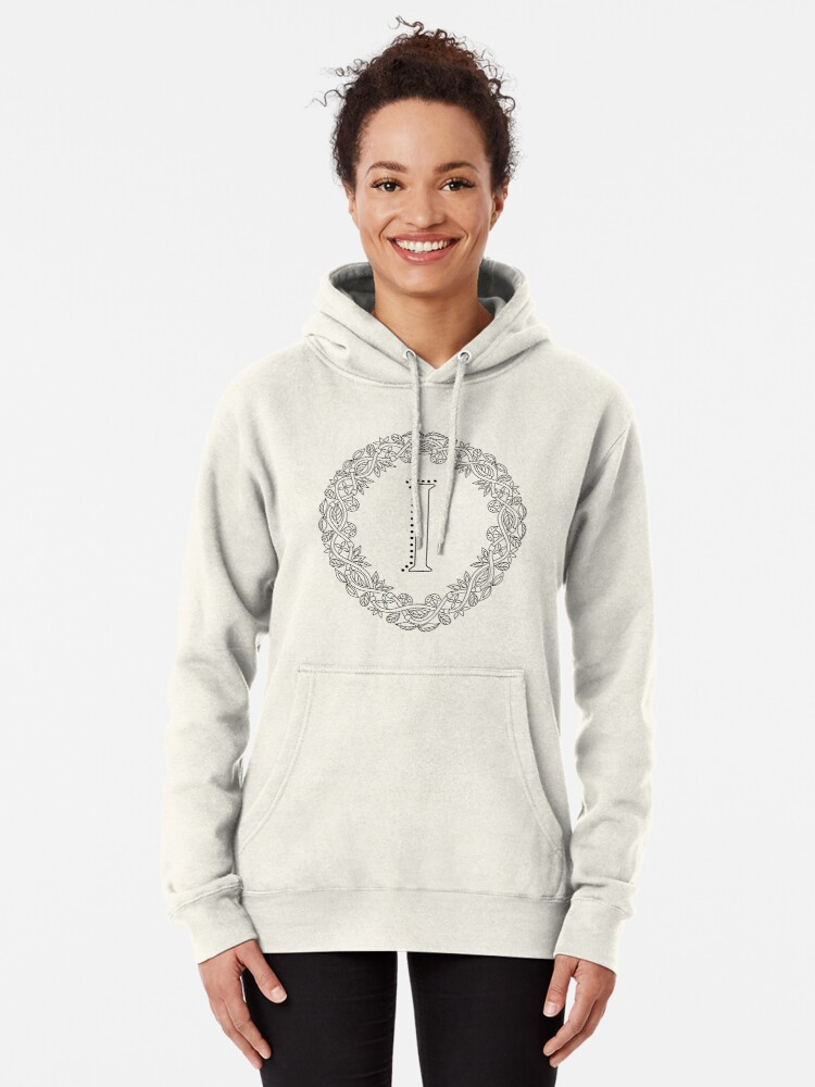 Alternate view of Letter I Black And White Wreath Monogram Initial Pullover Hoodie