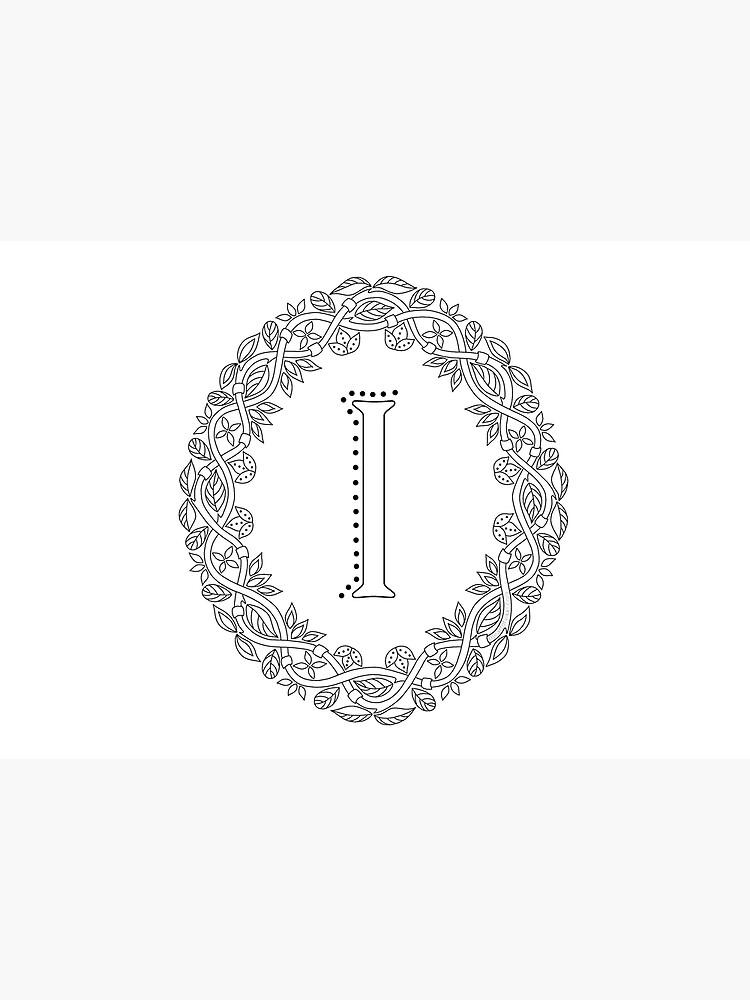 Letter I Black And White Wreath Monogram Initial by theartofvikki
