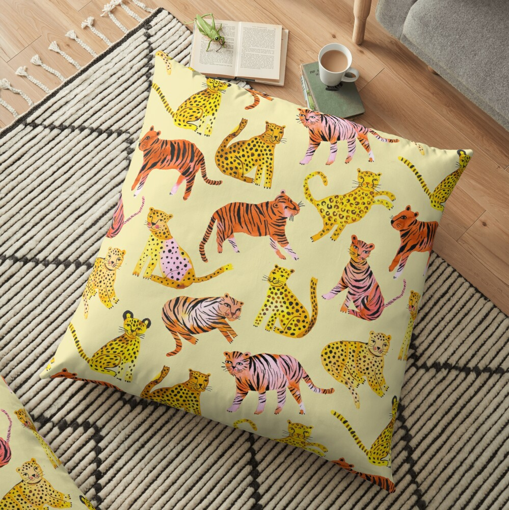 Tigers and Leopards Africa Savannah Floor Pillow