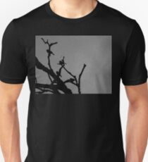 birds in tree black and white Unisex T-Shirt