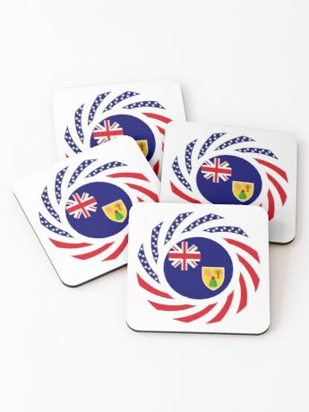 Turks & Caicos Islander American Multinational Patriot Flag Series Coasters