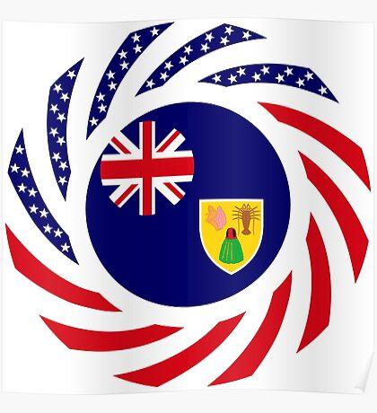 Turks & Caicos Islander American Multinational Patriot Flag Series Poster