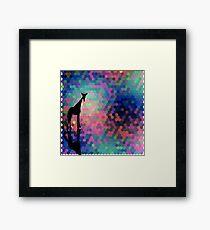 Geometric Giraffe Current Trend Bright  Framed Print