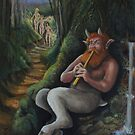 Satyr calling the Nymphs (finished) by Ken Tregoning