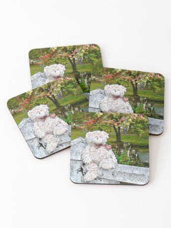 Teddy Bear by the Pond in Autumn Coasters