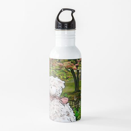 Teddy Bear by the Pond in Autumn Water Bottle