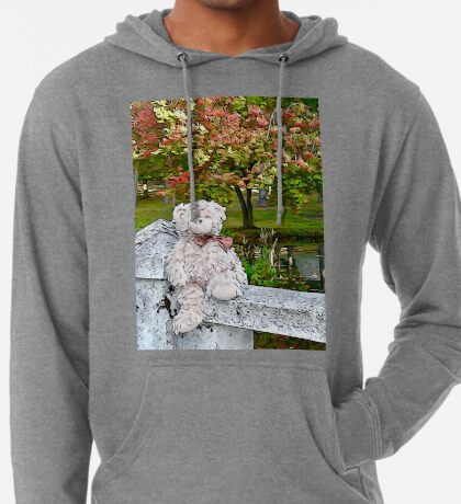 Teddy Bear by the Pond in Autumn Lightweight Hoodie