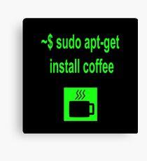 Linux sudo apt-get install coffee Canvas Print