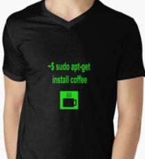 Linux sudo apt-get install coffee Men's V-Neck T-Shirt