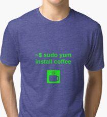 Linux sudo yum install coffee Tri-blend T-Shirt