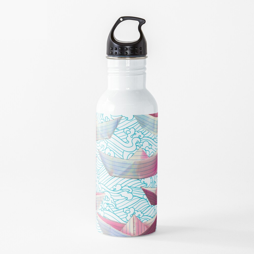 Japanese waves and paper boats Water Bottle