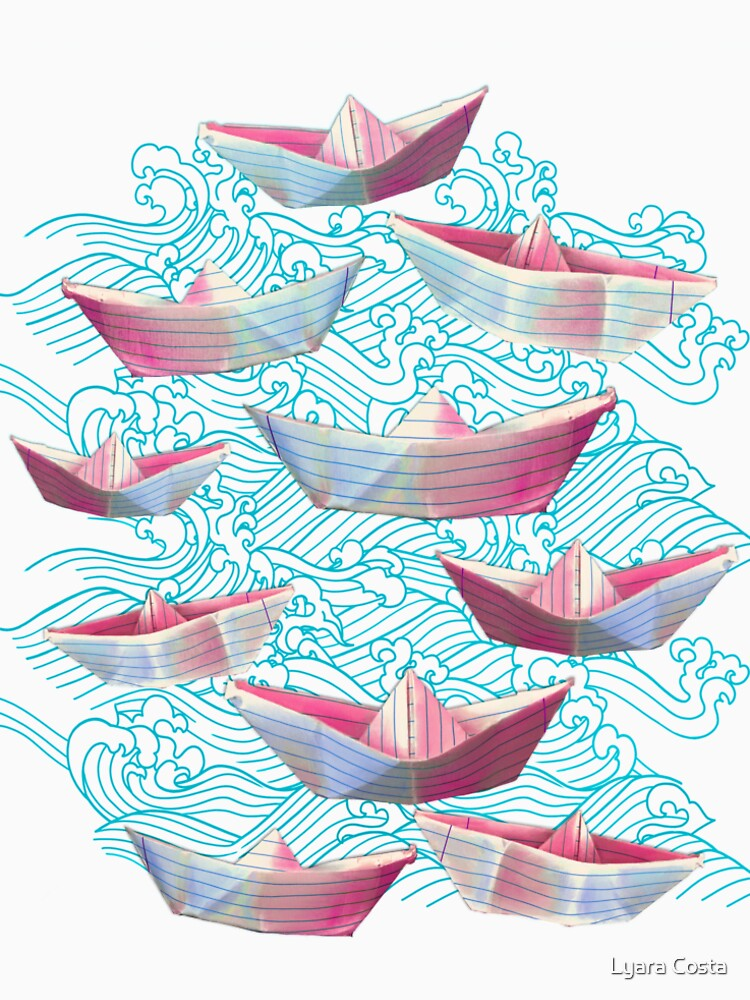Japanese waves and paper boats by lyaracosta