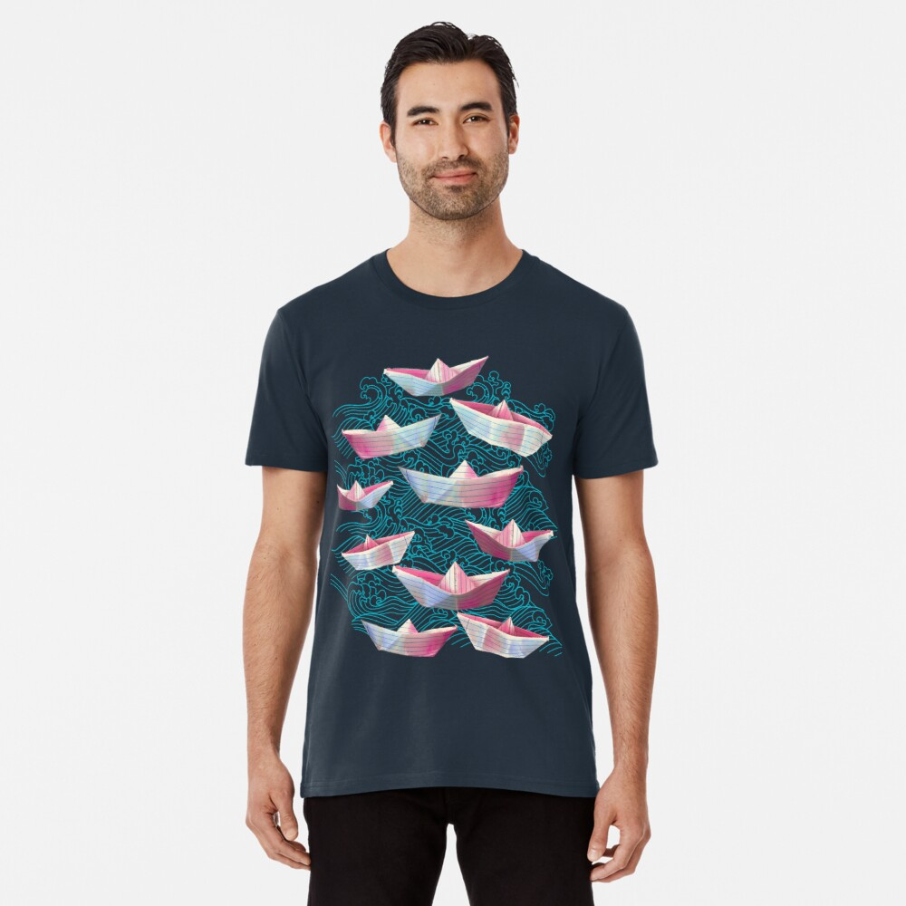 Japanese waves and paper boats Premium T-Shirt